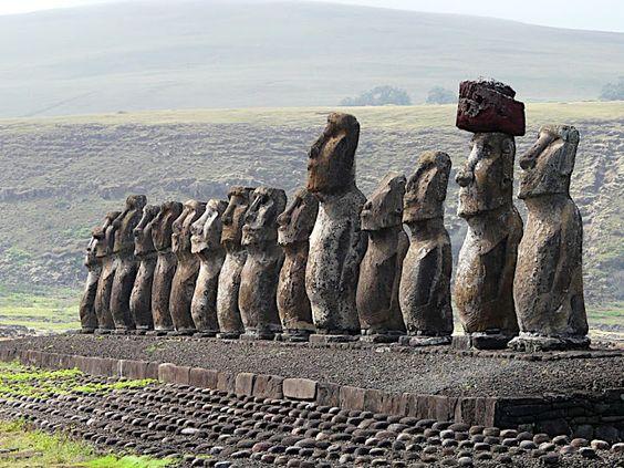 The Moai at Isla de Pascua, Chile.
