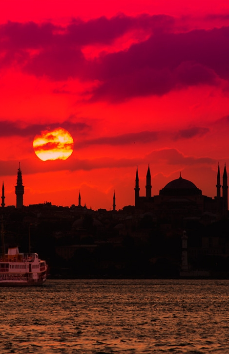 The sunset between two continents - Istanbul