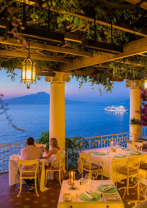 """La Pergola"" at Bellevue Syrene is without any doubt the most romantic restaurant in Sorrento... http://www.bellevue.it/"