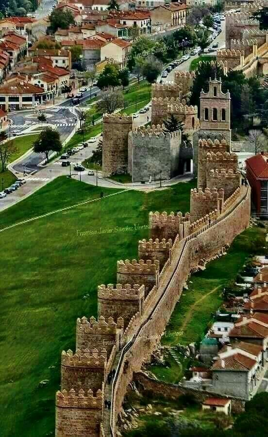 An intact medieval wall, with 88 towers and nine gateways, city of Avila.